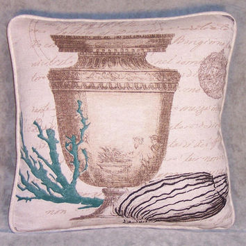 "Urn and Coral Throw Pillow 15"" Square Insert Included Ready Ship Seashell Teal Sunken Treasure Beach Island Decor Script Writing  OOAK  (A)"