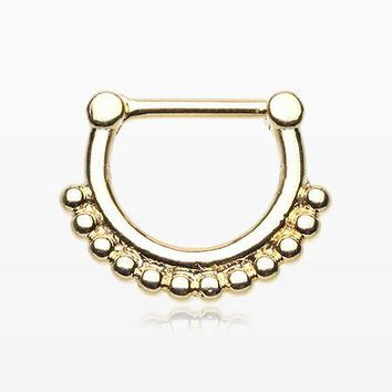 Golden Classic Bali Tribal Beads Septum Clicker