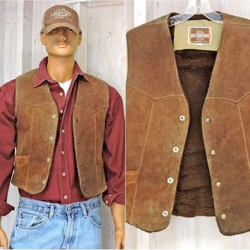 Mens vintage leather vest / M /  L size 42 / 70s fleece lined western vest /   Pioneer Wear USA /  cowboy /  biker brown leather vest
