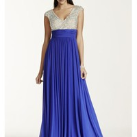 Crystal Encrusted Cap Sleeve Bodice Prom Dress - Davids Bridal