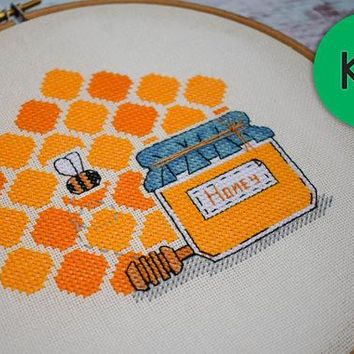 "Cross stitch kit. Modern cross stitch kit ""Honey"". Easy cross stitch kit for begginers. Needlework kit. Ready to ship. Counted cross stitch"