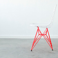 EAMES DKR - C+C Custom Bright White on Marfa Red Eiffel Base