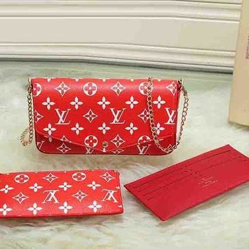 LV X Supreme Fashion Leather Shoulder Bag Crossbody Wallet Purse Three Piece Set For Women G-LLBPFSH-1