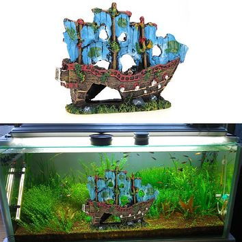 Resin Aquarium Decoration Wreck Sailing Boat Sunk Ship Destroyer Ornament for Fish Tank Aquarium Supplies