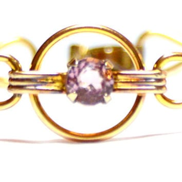 Vintage Amco Gold Filled over Sterling Amethyst Glass Bracelet