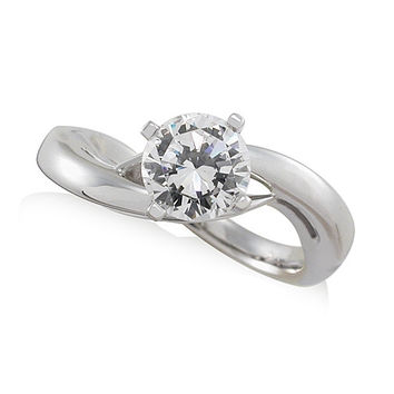 Vivadore Cross Over Solitaire Diamond Engagement Ring