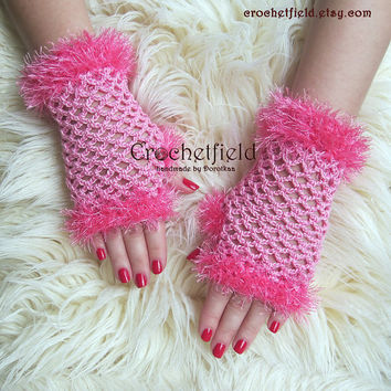 Candy pink Crochet Mittens, Fingerless Gloves, Lace Hand warmers, Wrist Cuffs ,Gift for her, Women's Fashion Accessory