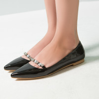 Women Flats with Rhinestone Pointed Toe Dress Shoes