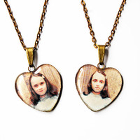 "The Grady Daughters From Stanley Kubrick ""The Shining"" -  Set of 2 Handmade Heart Cameo Pendant Necklaces - Best Friends or Sisters Jewelry"