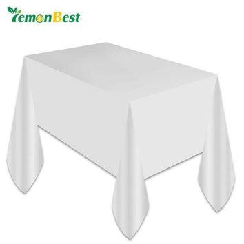 ONETOW 1PC White Plastic Disposable Plastic Table Cover Tablecloth Kids Birthday Party Decoration Baby Shower Decoration Supplies