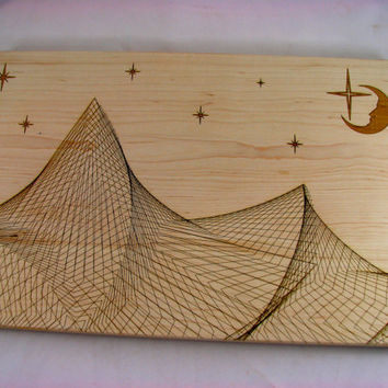 Edge Grain CUTTING BOARD - Starry Night - Large Solid Maple - Finger Jointed - Laser Engraved