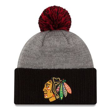 319ba1e668f ... promo code chicago blackhawks knit hat cuffed pom flag stated by new  era 39509 14ebf