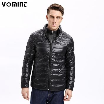 Vomint Winter Light Weight Men Down Jacket Casual Back Stitching Slim Fit Warm 80% Down Coat Stand Collar Male F6RI9029