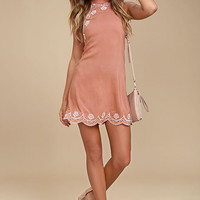 Roam On Blush Pink Embroidered Halter Dress