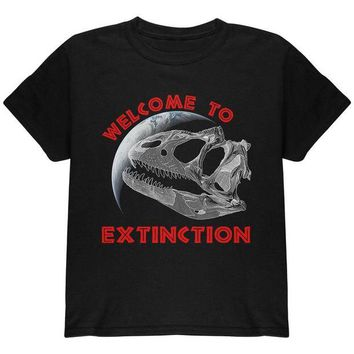 LMFCY8 Earth Day Dino Dinosaur Fossil Welcome To Extinction Youth T Shirt