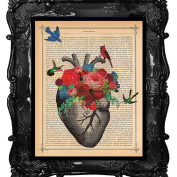Love Blossoms HEART Art Print Birds Cardinal Flowers Art HEART Anatomy art antique book page wedding dictionary print