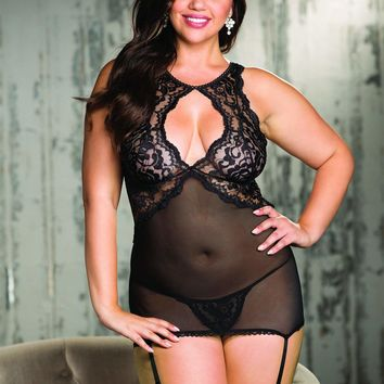 Shirley Of Hollywood Plus Size Chopper Bar Lace Gartered Chemise