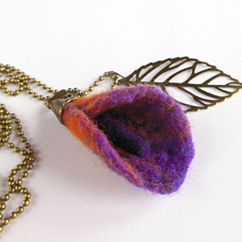 Felted necklace with leaf, pendant necklace, hand felted  felt, orange, violet, purple