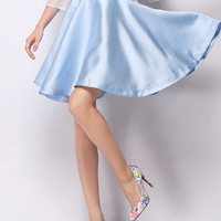 Cute Blue High Waisted Skater Skirt