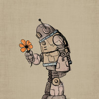 A Robot and his Flower Art Print by Michael Murdock