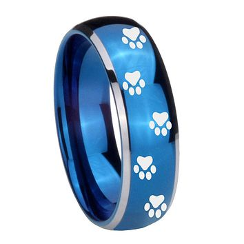 8MM Glossy Blue Dome Paw Print Design Tungsten Carbide 2 Tone Laser Engraved Ring