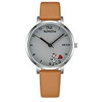 White Watches for Women Simple Style Leather Band Quartz Watch with Cute Dial Design Waterproof Fashion Sports Wristwatches Great Gift to Teenagers