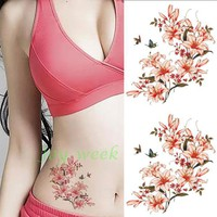 Waterproof Temporary Tattoo Sticker pink flower tattoo women's body art tatto stickers flash tatoo fake tattoos
