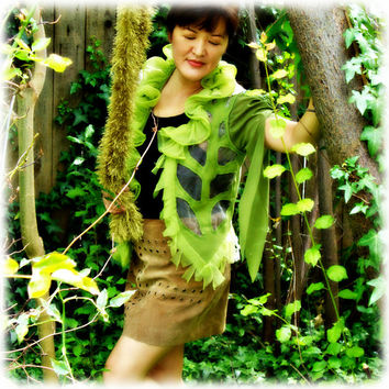 Halloween costume fairy pixie woodland emerald green vest waistcoat  festival leaf lace Midsummer Night's Dream upcycled fantasy