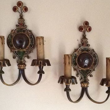 Vintage Pair Art Deco Sconces Signed I.S.C.O.