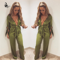 Sexy Women v- neck  Bodycon Jumpsuit loose Long Sleeve Tie Waist Bodysuit Stain  Night Club Wear Macacao Feminino Rompers