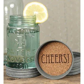 Mason Jar Lid Coasters - Cheers!