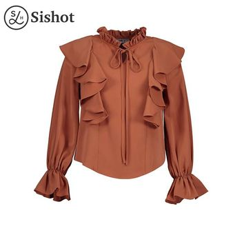 women casual shirts autumn orange loose long sleeve ruffled collar lace up loose patchwork fall ruffle casual blouse