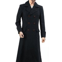 Sherlock Holmes Classic Inverness Wool Cape Coat Black