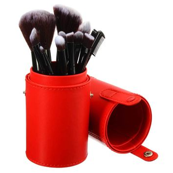 1pcs Empty Portable Round Makeup Brush Pen Holder Cosmetic Tool PU Leather Cup Container Pink Red Solid Colors 4 Optional Case