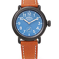 Shinola - Runwell Gunmetal PVD Stainless Steel & Leather Strap Watch - Saks Fifth Avenue Mobile