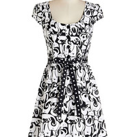 ModCloth Cats Mid-length Cap Sleeves A-line Creative Portrait Dress in Cat Collage