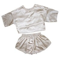 Champagne Satin Crop & Shorts Twin Set