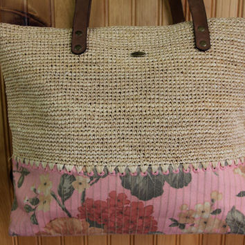 Pink Floral and Woven Summer Tote Bag // Leather and Raffia // by Callanan Resort
