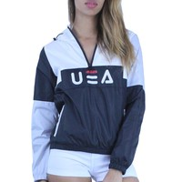 DD514 Windbreaker Hoodie Sports Jacket with USA Graphic Zipper & Pockets