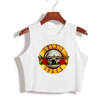 Women Summer Crop Top Gun N Rose Print Sexy Slim Shirt For Lady Tank Top Tee Hipster Latest White TZ203-971
