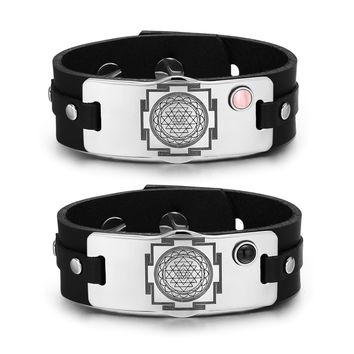 Sri Yantra Chakra Magic Energy Amulets Love Couples Pink Simulated Cat Eye Simulated Onyx Bracelets