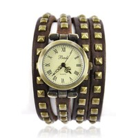 Leather Strap with Rivet Wrap Watch