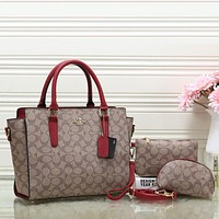 COACH Women Leather Handbag Tote Shoulder Bag Clutch Bag Cosmetic Bag Set Two-Piece