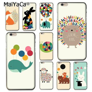 MaiYaCa Lovely hedgehog elephant fox rabbit Cute Phone Accessories Case for Apple iPhone 6 6S Plus X 8 8plus 5s 5C case Cover