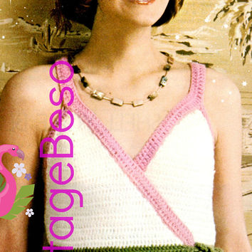 DIGITAL PATTERN • Wrap Top CROCHET Pattern • Vintage 1970s • Sleeveless Summer Top • Feminine Bow Tie • Ladylike and Sexy • PdF Pattern