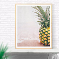 Beach Photography Printable, Beach House Decor, Pineapple ashore Wall Art Print, Nautical Wall Decor, Coastal Art Print,Modern Beach Art