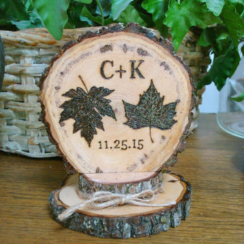 Fall Leaves Wedding Cake Topper Rustic Personalized Wood Country Woodland