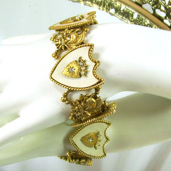 "Vintage ART Bracelet Book Chain Link Faux Pearls Rhinestones White Coat of Arms Shields Family Crest 1 1/4"" Wide"