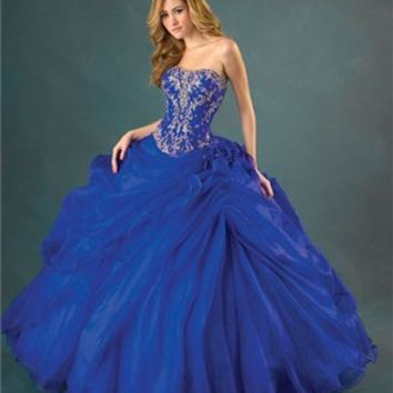 Fascinating Embroidery Taffeta Tulle Ball Gown Quinceanera Dress QD082