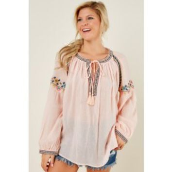 Clear Waters Light Pink Embroidered Top